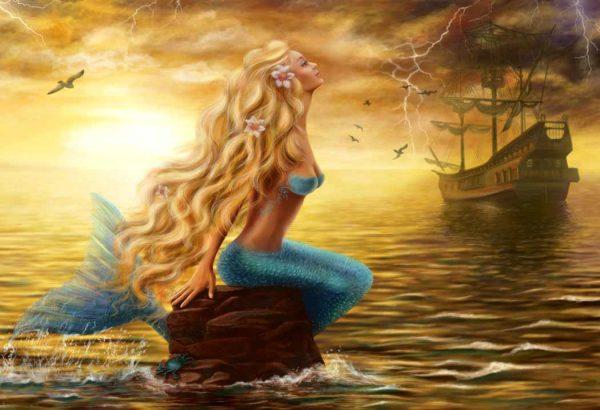mermaid and pirate ship