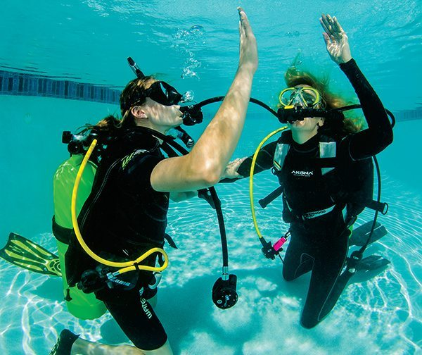 [FIVE] Positive physical contact is important to prevent divers from becoming separated while ascending.