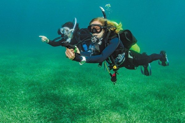 Scuba Diving | Divers navigating with a compass