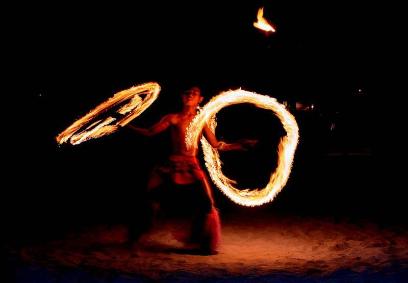 Fijian fire dancer