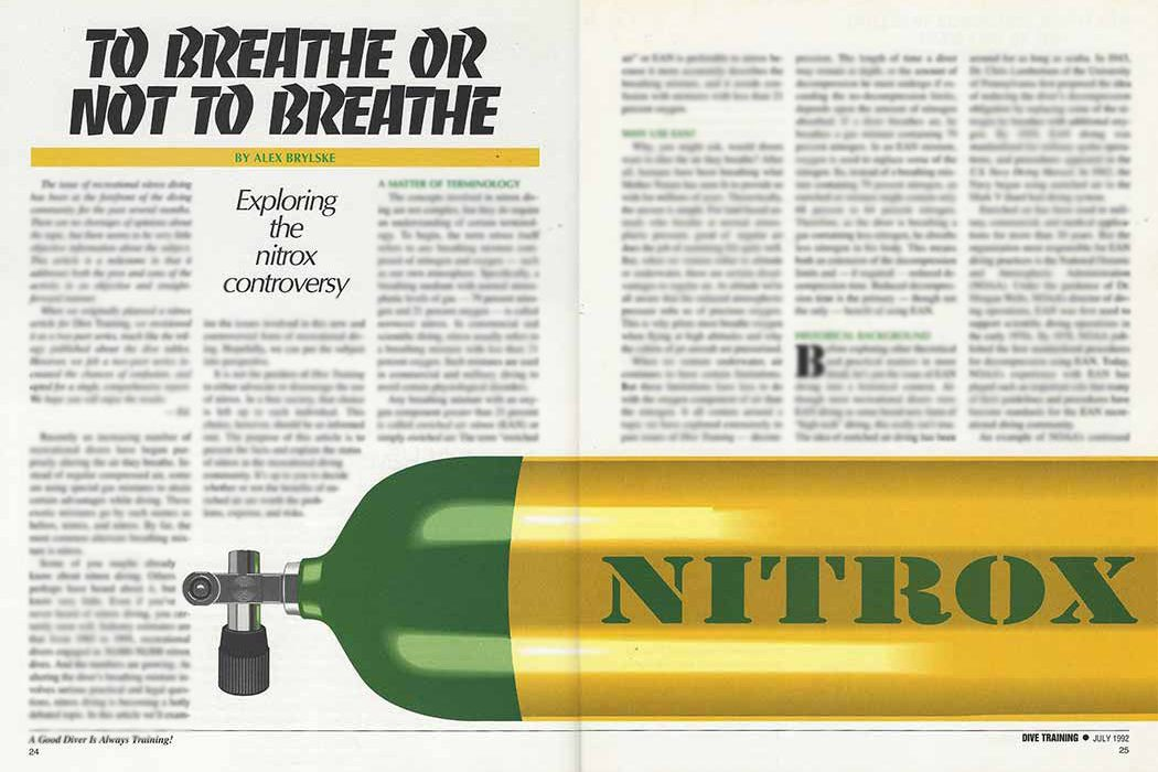 To Breathe Or Not To Breathe: Exploring The Nitrox Controversy ...