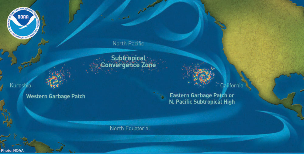 Map of Great Pacific Garbage Patch