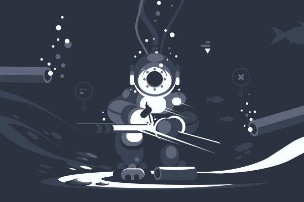 Commercial diver cartoon