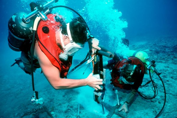 commercial diver working