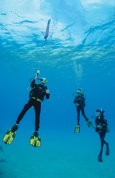 scuba divers using inflatable surface marker buoy